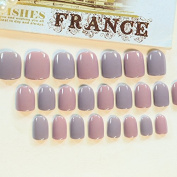 Fashion Grey Pink Fake Nails Short Shiny Shimmer Designed Artificial Nails Manicure Tips 24pcs with Glue Sticker Z323
