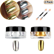 Hisight 2 pcs Nail Art Mirror Glitter Chrome Pigment Powder Dust Nail Sequins Gold Silver colour Nail Art Tools with Sponge Stick ×2