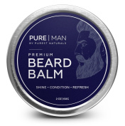 PURE | MAN Beard & Moustache Balm / Wax / Butter / Oil / Leave In Conditioner - Thickens, Strengthens, Softens, Tames & Styles Facial Hair Growth - Best & 100% Natural - Soothes Itching