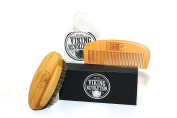 Beard Brush and Comb Set for Men - All Natural Boar Bristle and Bamboo Brush and Pear Wood Comb w/ Cotton Travel Pouch and Gift Box by Viking Revolution - Great for Grooming Beards and Moustache