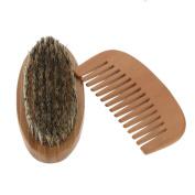 Anself Men's Beard Brush & Comb Kit Boar Bristles Moustache Shaving Brush & Wooden Beard Comb
