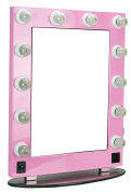 HIKER Lighted Vanity Mirror in Pink Glossy, Dimmer