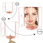 Muses Poem Lighted Vanity Mirror with 21 LED Lights Touch Screen and 3X/2X/1X Magnification Rose Golden