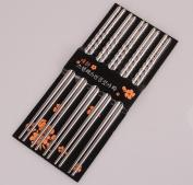 IGEMY Chopsticks 5 Pair Metal Reusable Korean Chinese Stainless Steel Chop Sticks