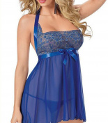 CZIXUN Sexy Lingerie Blue Nightdresses for Women Sleeveless Plus Size