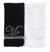 Sparkles Home Rhinestone Mr. and Mrs. Towel Set with Box