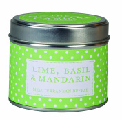 """The Country Candle Company Polka Dot Collection """"Lime Basil and Mandarin"""" Candle in Tin, Multi-Colour"""