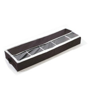 Collapsible Shoe Organiser Underbed Shoes Storage Box for 5 Pairs with Hook and loop to Hang in the Wardrobe, Brown