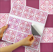 """MOROCCAN ROSE sheet of 9 Transfer Tile Stickers for 4"""" x 4"""" (10cm x 10cm) tiles 3M Self Adhesive sheet of nine tile sticker transfers for Kitchens & Bathrooms Fully wipeable, steam and heat resistant, non see through material. 35 NEW STYLES available f .."""