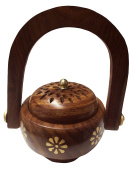 Womens Day Special Gift,Wooden Incense Burner, Charcoal Burner with Handle With Brass Inlay