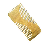 Meta-C Portable Beard Comb – Handcrafted With One Piece Of Natural Green Sandal Wood – NO SNAGS, NO TANGLE, NO STATIC – Wide Teeth & Standard Teeth Without Handle