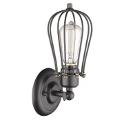 AIHOMETM Vintage Style Industrial Cage Design Wall Lamp Grapefruit Shape Metal Wire Lampshade Closing Light Wall Sconce