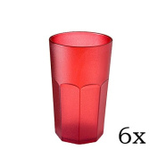 cartaffini - Gluegun Gluesticks Cocktail Polycarbonate Tumbler - Set of 6 Capacity 48 cl, Octagonal - Red