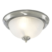 Marco Tielle New York Diner Satin Silver Finished Flush Bathroom Ceiling Light IP44 Rated