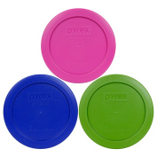 Pyrex 7200-PC 2 Cup Green Pink Cobalt Blue Round Plastic Lids - 3 Pack