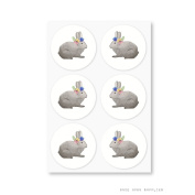 Once Upon Supplies Bunnies Easter Party Round Stickers, 3.8cm , 60 Pcs