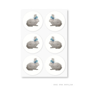 Once Upon Supplies Bunnies Party Round Stickers, 3.8cm , 60 Pcs