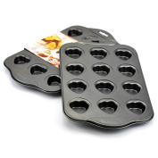Muffin Pan, Stainless Steel Sheet Cake Muffin Top Pan Nonstick 12 Heart Cups - Silver Grey