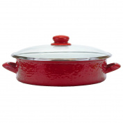 Golden Rabbit - Red on Red Texture Pattern - Large Saute Pan