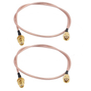 sourcingmap® 2PCS RG316 SMA Female to Male Connector Router Booster Antenna Extension Cable 50cm