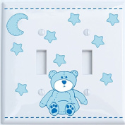 Blue Teddy Bear Light Switch Plate Double Toggle with Blue Moon and Stars / Teddy Bear Nursery Decor