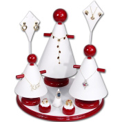 Ikee Design® Jewellery Display 9 Pcs Set Rosewood and White Leatherette