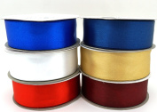 6 Patriotic Colours Ribbons 25 Yard Satin or 50 Yard Organza Rolls, Choose Width