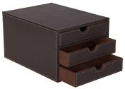 Osco Faux Leather 3 Sorter Drawer - Brown