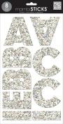 me & my BIG ideas Large Alpha Sticker, Mia Chunky, Glitter Silver