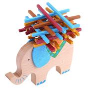 VANKER Wooden Blocks Toy Kids Balance Beam Stacking Elephant Balancing Game Educational Gift