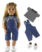 HongShun Fashion Style Doll Clothes Top+Denim suspender Clothing+White Shoes for 46cm American Girl Doll