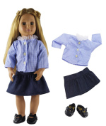 HongShun Fashion Doll Clothes Student Clothes+Black Shoes Outfit for 46cm American Girl Doll