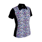 Monterey Club Ladies Dry Swing Fun Leopard Colorblock Princess Seam Polo Shirt #2350
