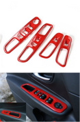 Dwindish Red ABS Interior Door Armrest Window Lift Button Cover Trim for Jeep Renegade 2015 2016