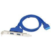 SNANSHI Two Port USB 3.0 Bracket Cable with Built-In 20-Pin Header 50CM Blue