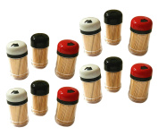 Set of 12 Bamboo Toothpicks 300 Count Each in Plastic Dispenser with Twist Top