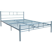 Home Discount Dorset King Size Bed Frame, 1.5m Metal Bed Frame Bedroom Furniture, Silver