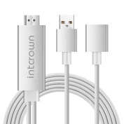 Intcrown Airplay Miracast HDMI Media Streaming Adapter Cable for iPhone and for for for for for Samsung White)