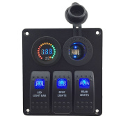 Switch Panel, FABOOD 3 Gang Waterproof Rocker Switches Panel with DC 12V Digital Voltmeter / Power Charger Socket(Cigarette Lighter Socket) and 3 LED Lights Switchs for Marine Boat Car RV