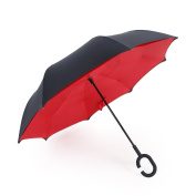 Double Layer Reverse Folding Umbrella Cars Reversible Umbrella Rain Umbrella Windproof With C-Shaped Handle