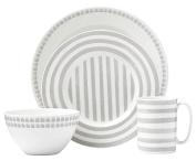 Kate Spade New York Charlotte Street North Grey 4-piece Dinnerware Place Setting, White and Grey Porcelain