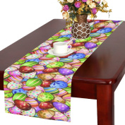 InterestPrint Unique Colourful Easter Eggs Polyester Table Runner Placemat 41cm x 180cm , Spring Egg Table Cloth for Office Kitchen Dining Wedding Party Home Decor