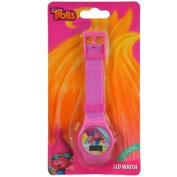 Trolls LCD Flashing watch with photo dial and glitter rainbow strap on long card