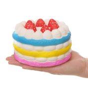 Aolige New Colossal Squishy Colourful Round Strawberry Cake Cream Scented Slow Rising Decompression Squeeze Toys 1PC Random