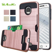 Moto Z Droid Case, AnoKe [Credit Card Slots Holder][Wallet] Silicone Rubber Hybrid Armour Shockproof Protective Holster Cover Case For Motorola Moto Z / Moto Z Droid Edition - KLS Rose Gold