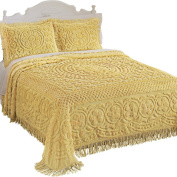 Calista Chenille Lightweight Bedspread with Fringe Border, Yellow, Queen