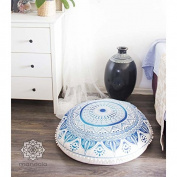 Perfect for Gift Boho Ombre Indian Mandala Floor Cushion Cover (Organic Cotton, 80cm ) by Mandala Life ART