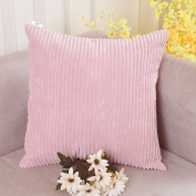 Home Brilliant Valentines Throw Pillow Covers Plush Velvet Corduroy Throw Euro Pillow Sham Cushion Cover for Sofa, 26 x 26 inch (66cm), Baby Pink