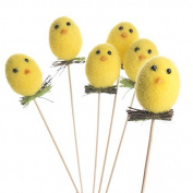Handcrafted Collection of 6 Sweet Fuzzy Easter Chick Picks for Creating Festive Baskets, Embellishing Spring Decor and More