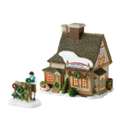 """Department 56 New England Village Annual """"Celebrate The Holiday"""" Limited to 2010 Partridge Wreath Shop Lit House and Figurine Set"""